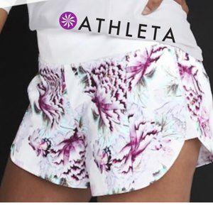 "Athleta Run Free Floral Print Shorts 3.5"""